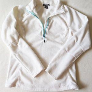 Eddie Bauer White 1/4 Zip Fleece Pullover - M